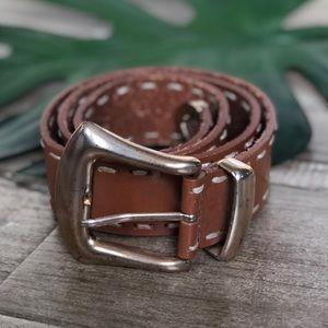Merona Chestnut Tan Expose Stitch Leather Belt